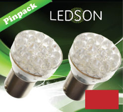 LED-LICHT ROT - 24 DIODE  P21W  BA15s