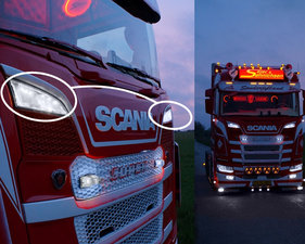 XENON WEISS - LED POSITIONSLEUCHTE GRILL SCHEINWERFER - SCANIA 2016+